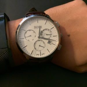 Hugo Boss Adjustable Watch (Brown and Silver)